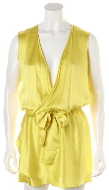 ALEXIS Yellow Wrap Effect Sleeveless Belted Blouson Dress