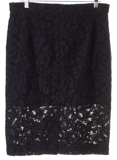 ALEXIS Black Floral Lace Overlay Knee-Length Pencil Skirt