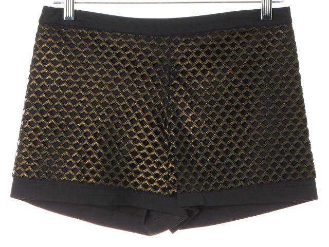 ALEXIS Black Gold Metallic Mesh Overlay Dress Shorts