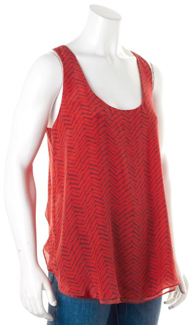 ALEXIS Red Gray Abstract Racerback Scoop Neck Tank Top