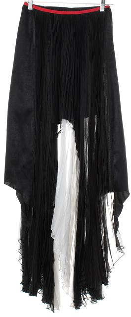ALEXIS Black White Red Color-Block Pleated Asymmetrical Maxi Skirt