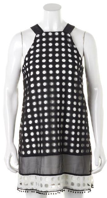ALEXIS Black White Embroidered Lace Overlay Sleeveless Shift Dress