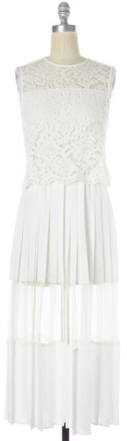 ALEXIS White Lace Pleated Sheer Sleeveless Sheath Dress