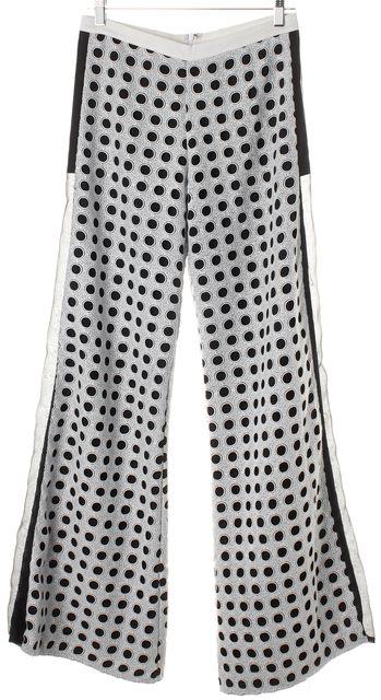 ALEXIS White Black Color-Block Eyelet Straight Flare Leg Pants