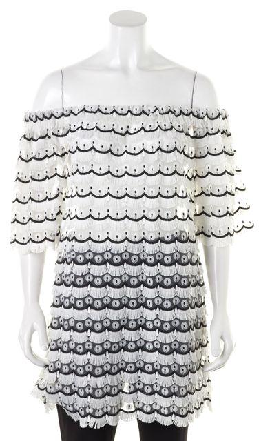 ALEXIS White Black Fringe Floral Lace Off Shoulder Top