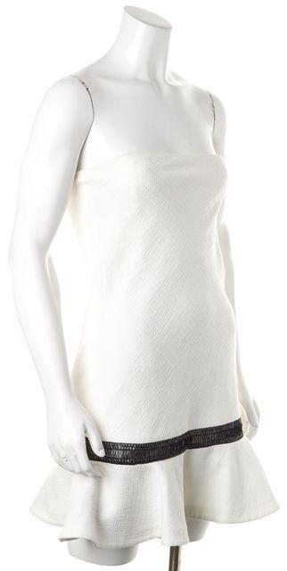 ALEXIS White Black Flutter Strapless Above Knee Sheath Dress
