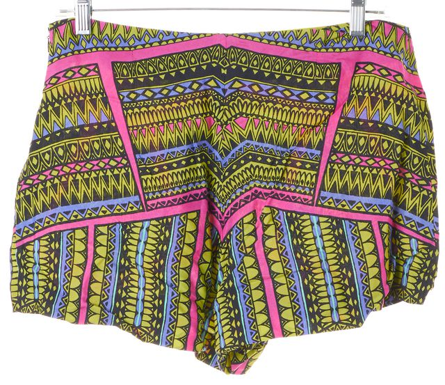 ALEXIS Green Pink Multi Abstract Printed High Waisted Casual Shorts