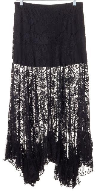 ALEXIS Black Lace Semi Sheer Gordon Long Maxi Skirt