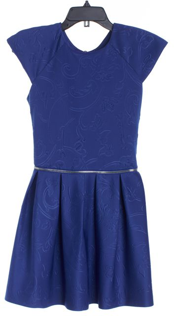 ALEXIS Royal Blue Embossed Fit & Flare Dress Size