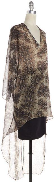 ALEXIS Brown Animal Print Sheer Blouse Top