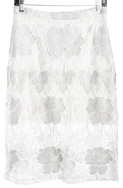 ALEXIS White Floral Lace Overlay Knee-Length Pencil Skirt