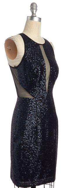 AIDAN MATTOX Blue Black Illusion Sequin Cocktail Sheath Dress