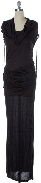 ANN DEMEULEMEESTER Black Jersey Cowl Neck Draped Maxi Sheath Dress