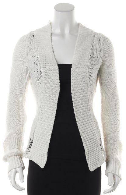 ANN DEMEULEMEESTER White Cotton Open Knit Long Sleeve Cardigan