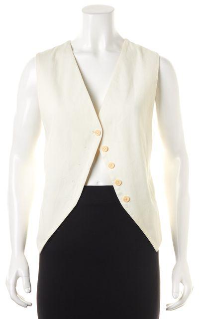 ANN DEMEULEMEESTER Ivory Cotton Button Front Vest