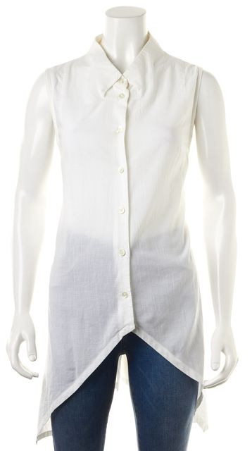 ANN DEMEULEMEESTER White Sleeveless Button Down Shirt Top