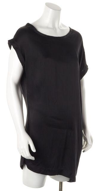 ANN DEMEULEMEESTER Black Silk Asymmetrical Tunic Top