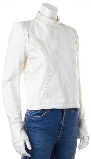 ANN DEMEULEMEESTER White Cotton Linen Asymmetrical Basic Jacket