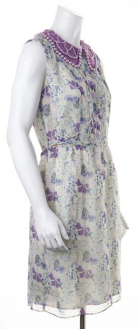 ANNA SUI Purple Floral Silk Fit & Flare Dress