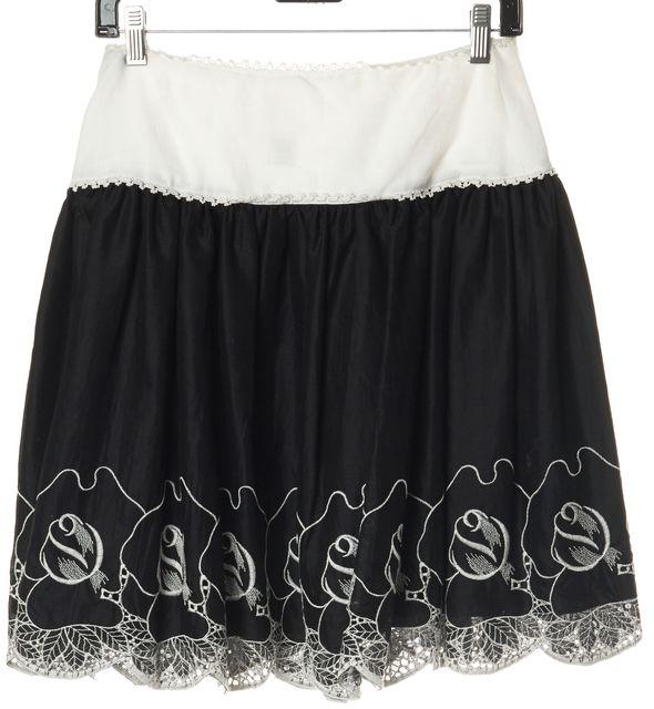 ANNA SUI Black Linen Floral Embellished Bubble Skirt