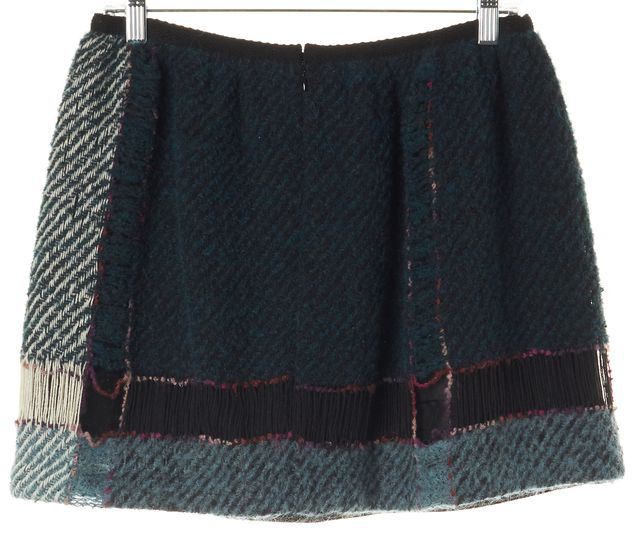 ANNA SUI Teal Blue Plaid Knit Pleated Skirt
