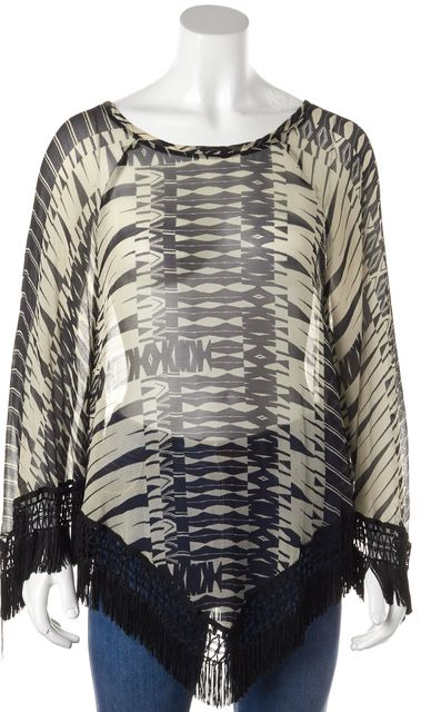 ANNA SUI Beige Black Abstract Fringe Trim Poncho Style Blouse