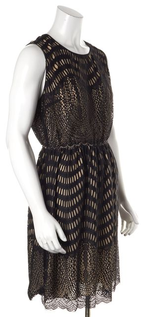 ANNA SUI Black Beige Laser Cut Overlay Sleeveless Blouson Dress