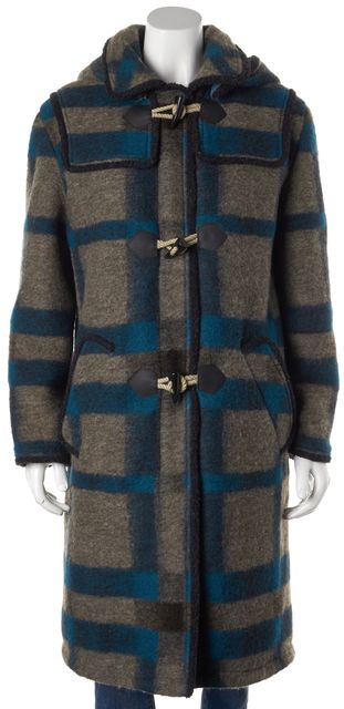 ANNA SUI Blue Gray Plaids & Checks Wool Basic Hooded Duffle Coat