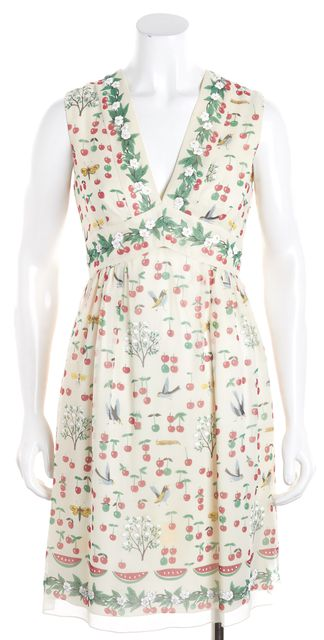 ANNA SUI Ivory Green Pink White Floral Silk Empire Waist V-Neck Dress