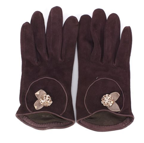ANYA HINDMARCH Purple Suede Flower Embellished Gloves