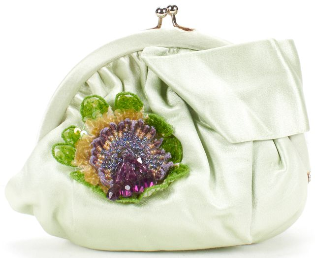 ANYA HINDMARCH Mint Green Satin Embellished Snap Clutch Bag