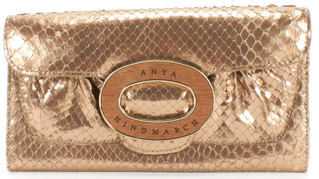 ANYA HINDMARCH Gold Snake Embossed Leather Wallet