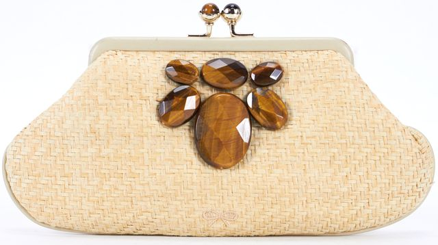 ANYA HINDMARCH Beige Embellished Straw Woven Clutch
