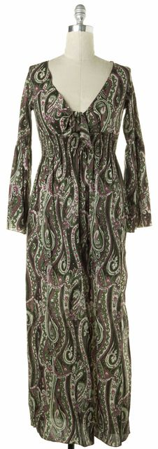 ANYA HINDMARCH Green Brown Pink Ivory Cotton Paisley Maxi Beach Dress