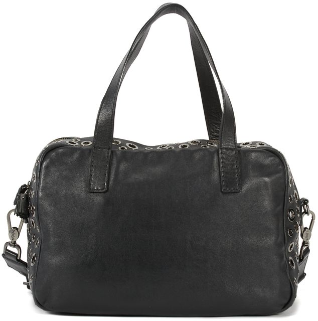 ANYA HINDMARCH Black Leather Silver Grommet Satchel