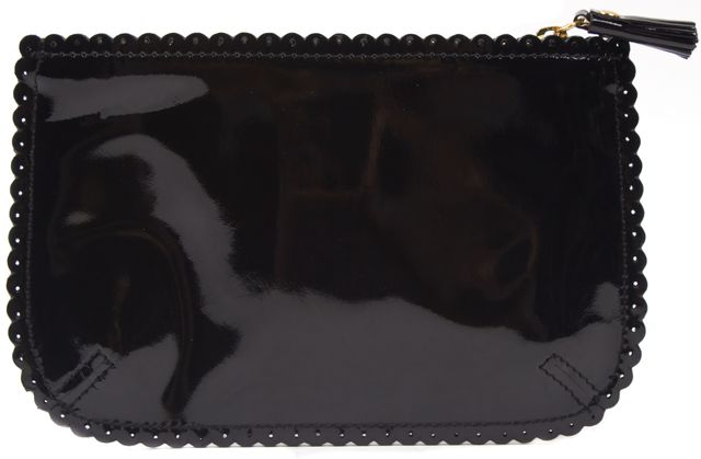 ANYA HINDMARCH Black Patent Leather Scalloped Therapy Fund Pouch Wallet