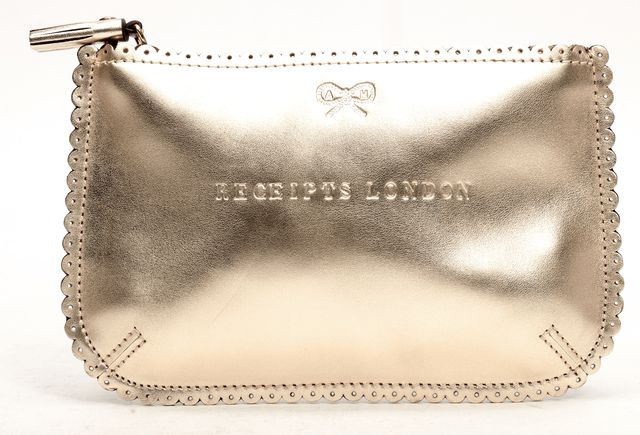 ANYA HINDMARCH Gold Metallic Leather Receipts London Pouch Wallet