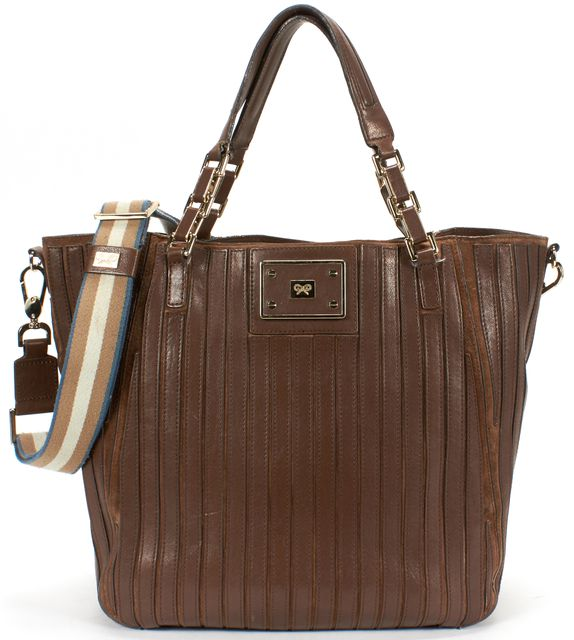 ANYA HINDMARCH Brown Paneled Leather Suede Tote Bag