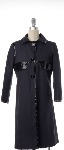 ANYA HINDMARCH Navy Blue Basic Cotton Coat