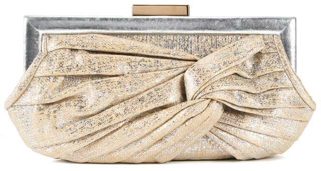 ANYA HINDMARCH Beige Metallic Straw Woven Clutch