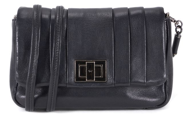 ANYA HINDMARCH Black Leather Turn Lock Small Crossbody Shoulder Bag