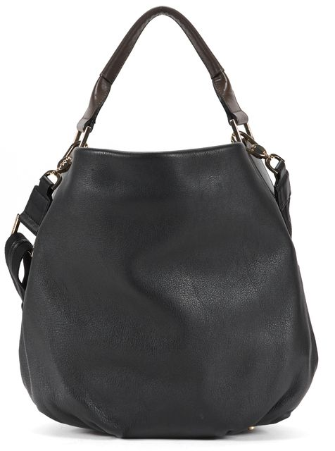 ANYA HINDMARCH Black Brown Leather Hobo Satchel Shoulder Bag