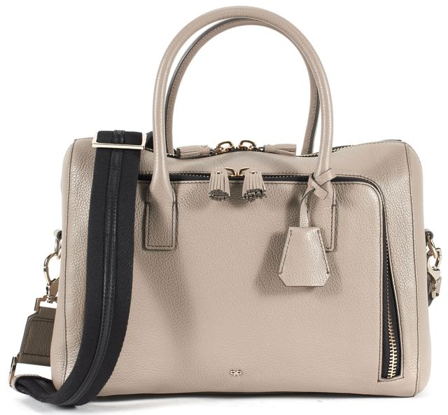 ANYA HINDMARCH Taupe Maxi Zip Top Handle Genuine Leather Satchel