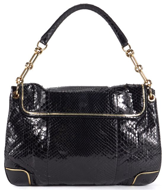 ANYA HINDMARCH Black Green Snakeskin Leather Turn Lock Flap Shoulder Bag