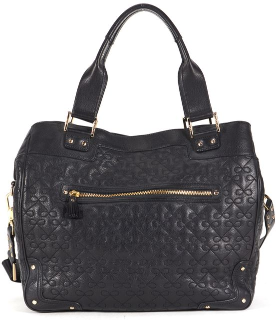 ANYA HINDMARCH Black Quilted Leather Art Logo Tote Satchel