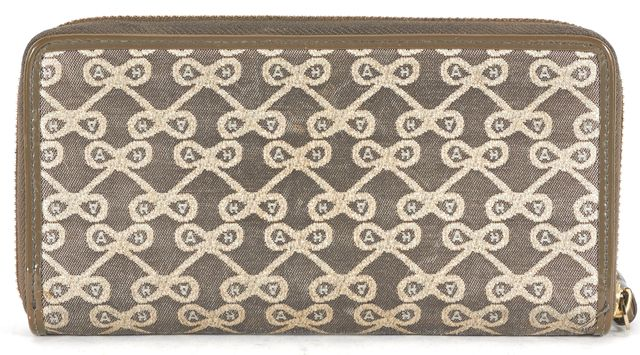 ANYA HINDMARCH Gray Metallic Gold Canvas Zip Around Wallet