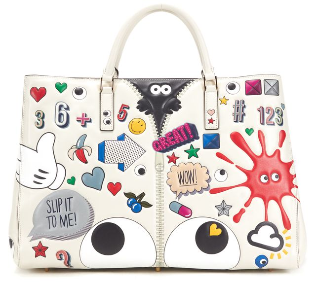 ANYA HINDMARCH Cement Multi-Color Leather All Over Stickers Tote