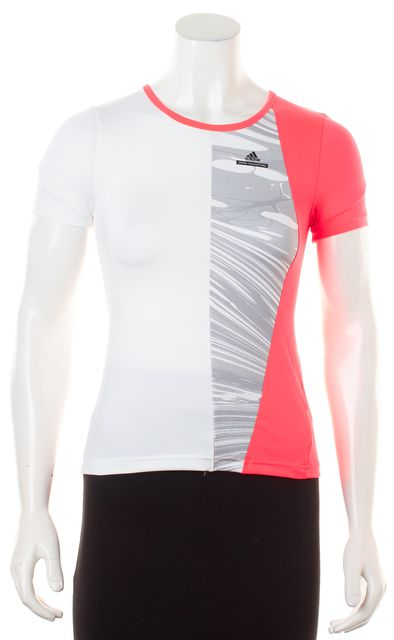 ADIDAS BY STELLA MCCARTNEY White Neon Pink Colorblock Athletic Tee Top