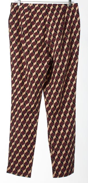 APIECE APART Purple Beige Black Geometric Print Slim Fit Dress Pants