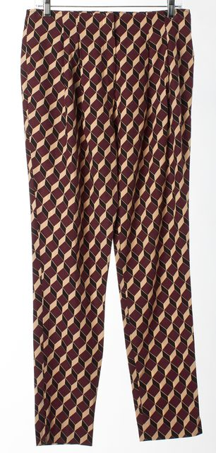 APIECE APART Purple Beige Black Geometric Print Slim Fit Dress Pants